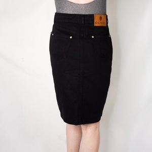 21636abc0ae Gucci Black Denim Pencil Skirt LOGO Pockets 0562